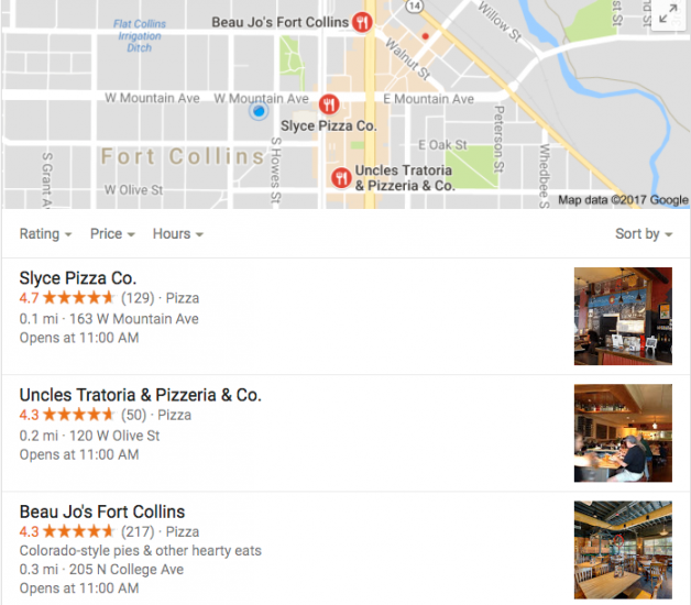Local SEO example of a listing of pizza restaurants under a Google Map